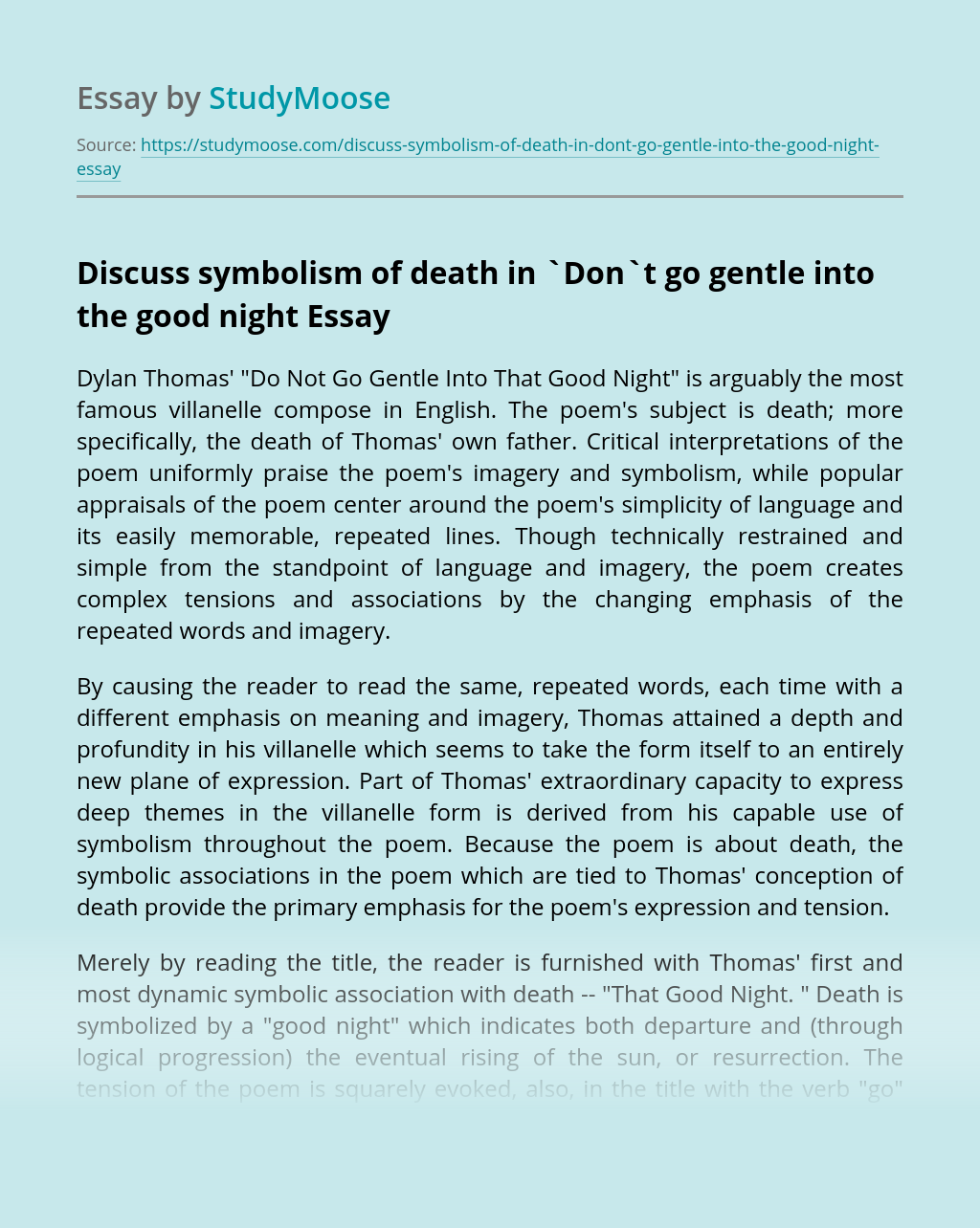 Discuss symbolism of death in `Don`t go gentle  into the good night