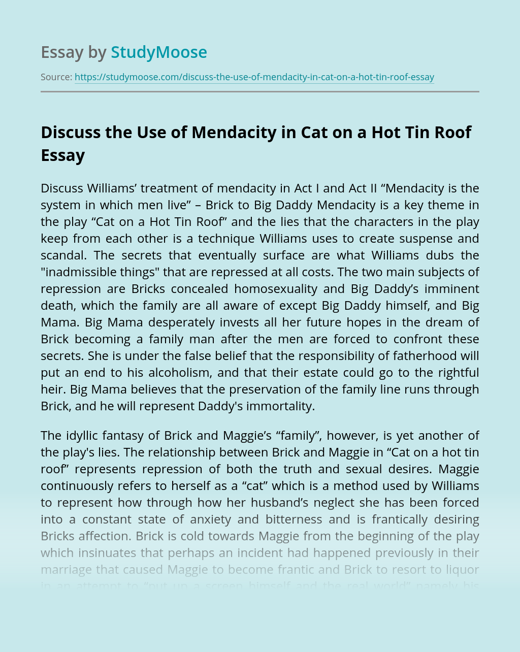 Discuss the Use of Mendacity in Cat on a Hot Tin Roof