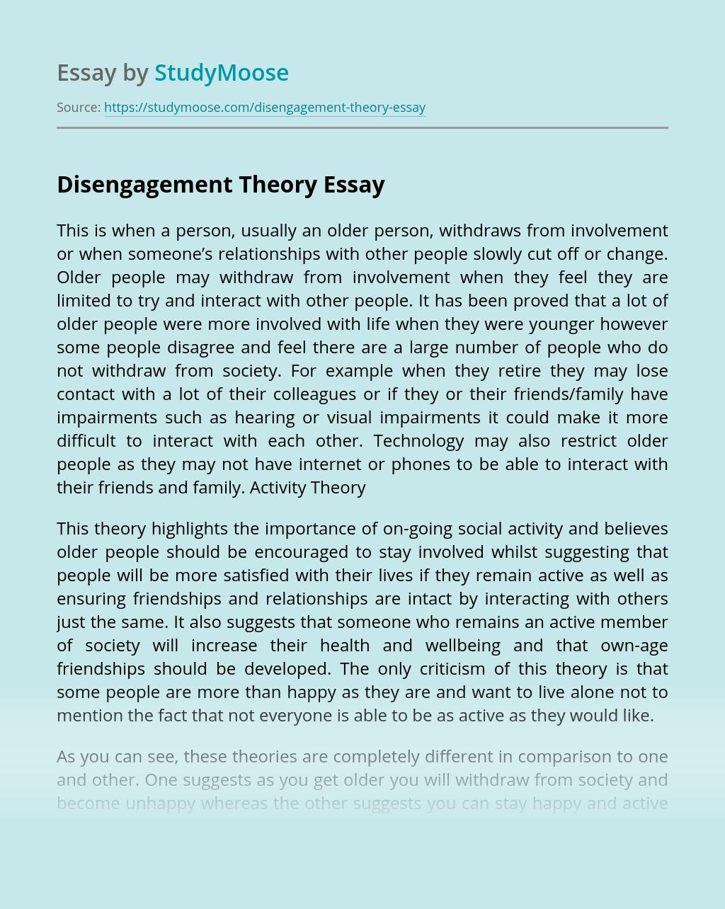 Disengagement Theory