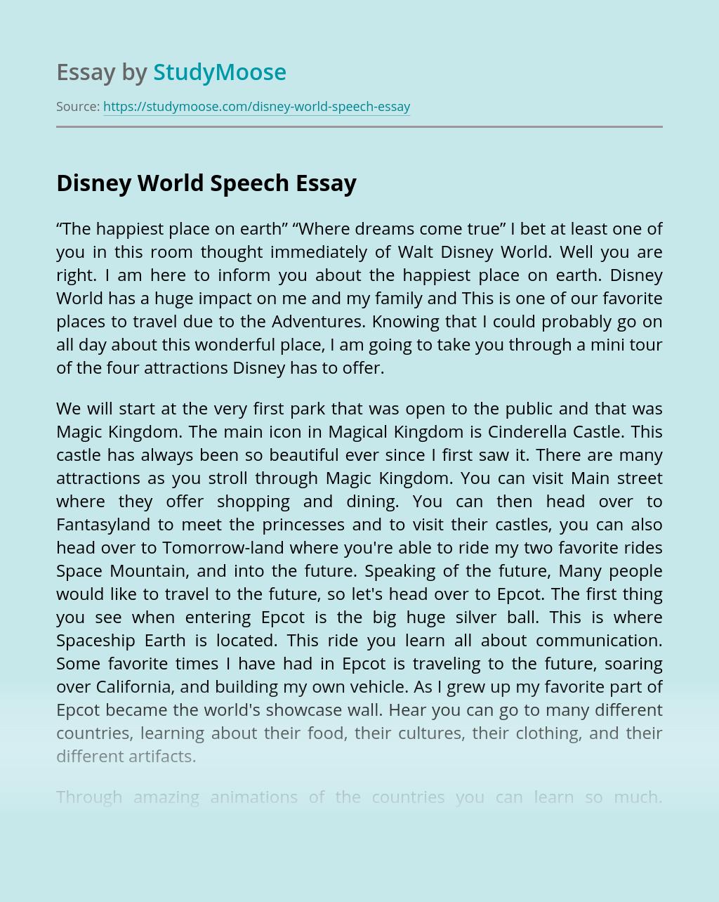 Disney World Speech