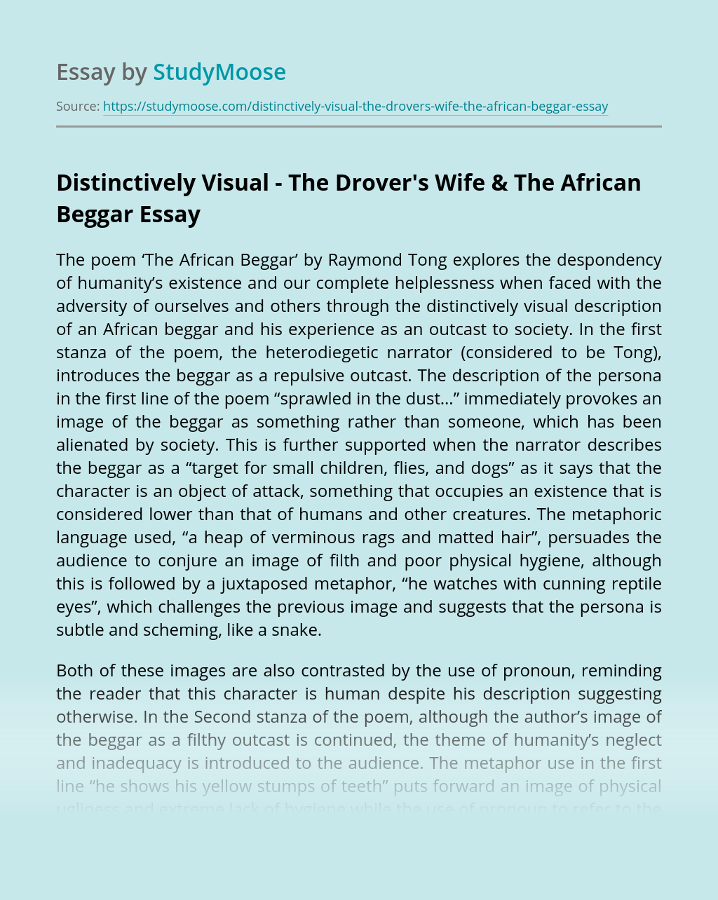 Distinctively Visual – The Drover's Wife & The African Beggar