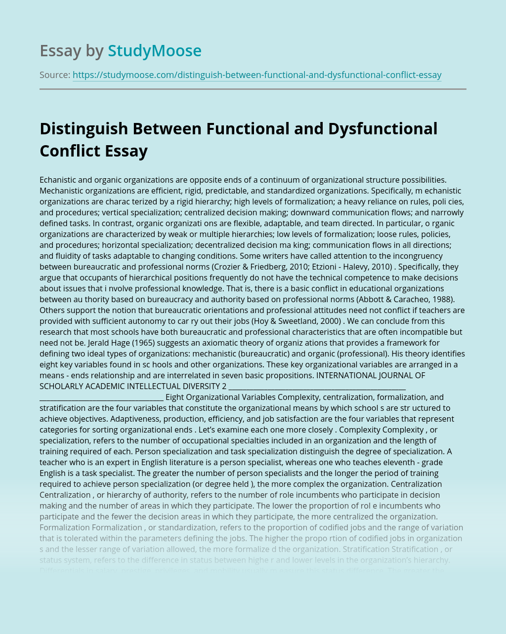 Distinguish Between Functional and Dysfunctional Conflict
