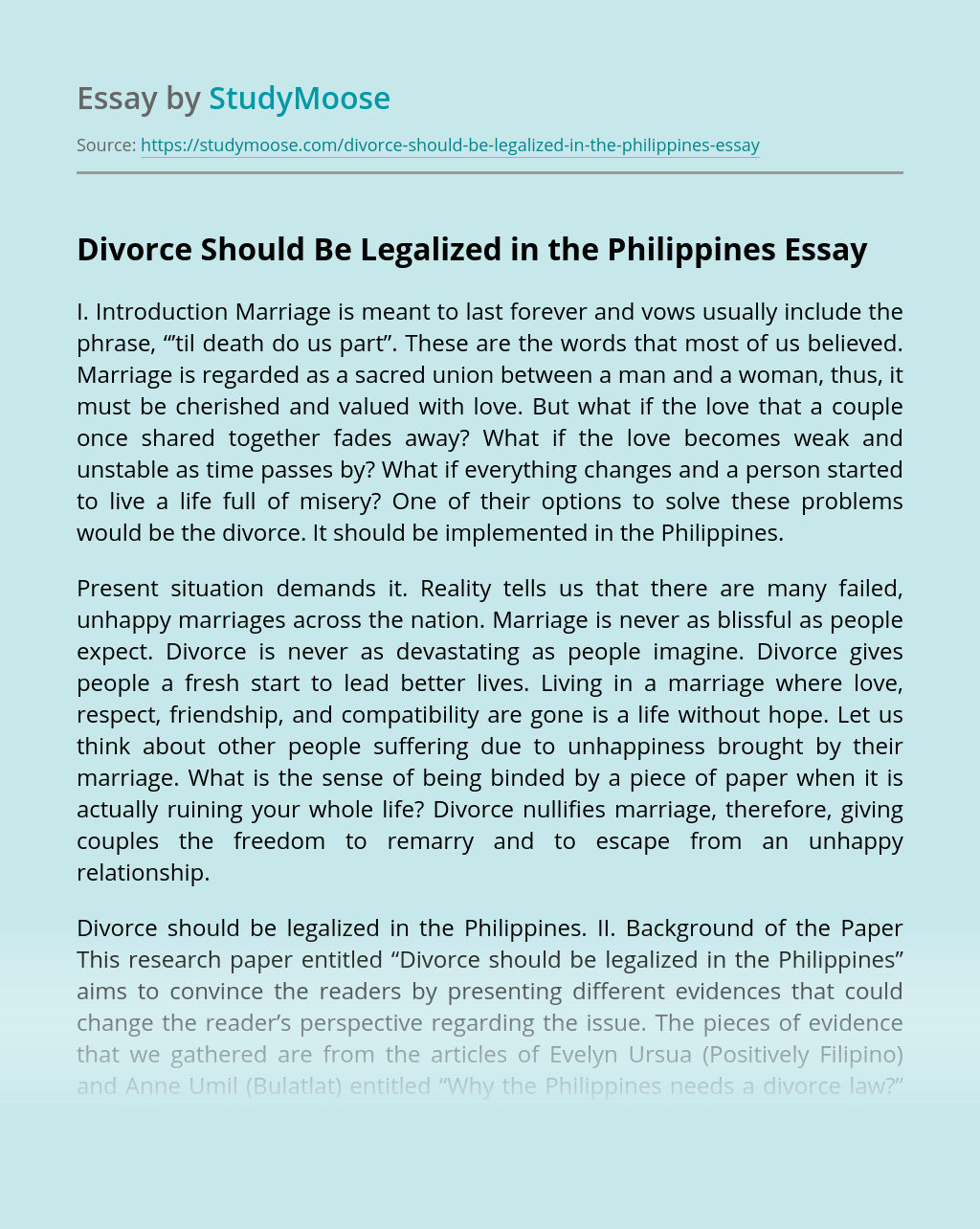 Divorce Should Be Legalized in the Philippines