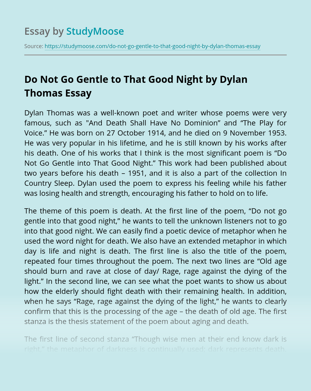 Do Not Gentle Into That Good Night Essay