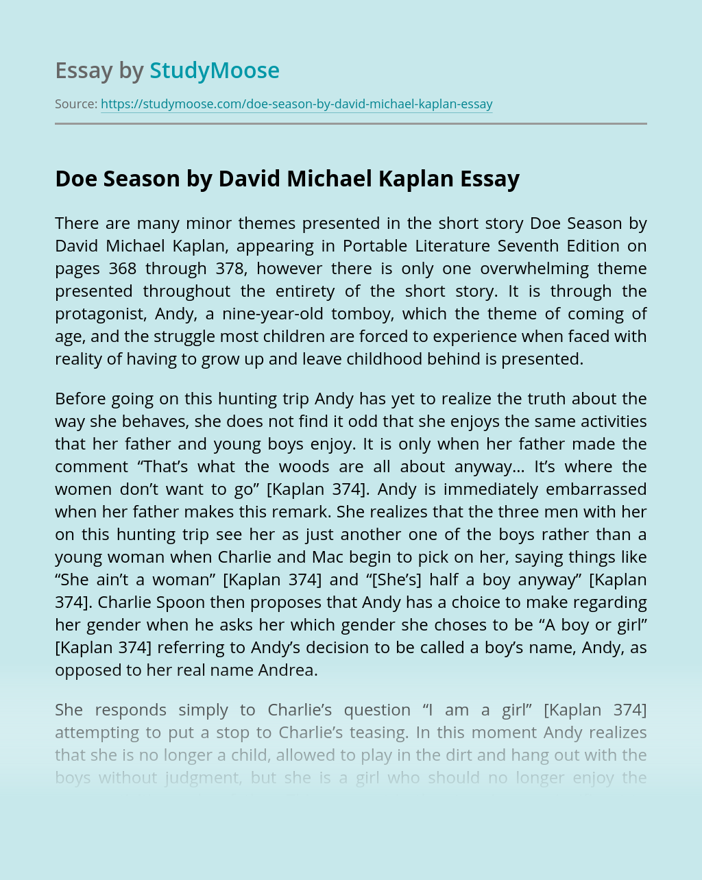 Doe Season by David Michael Kaplan