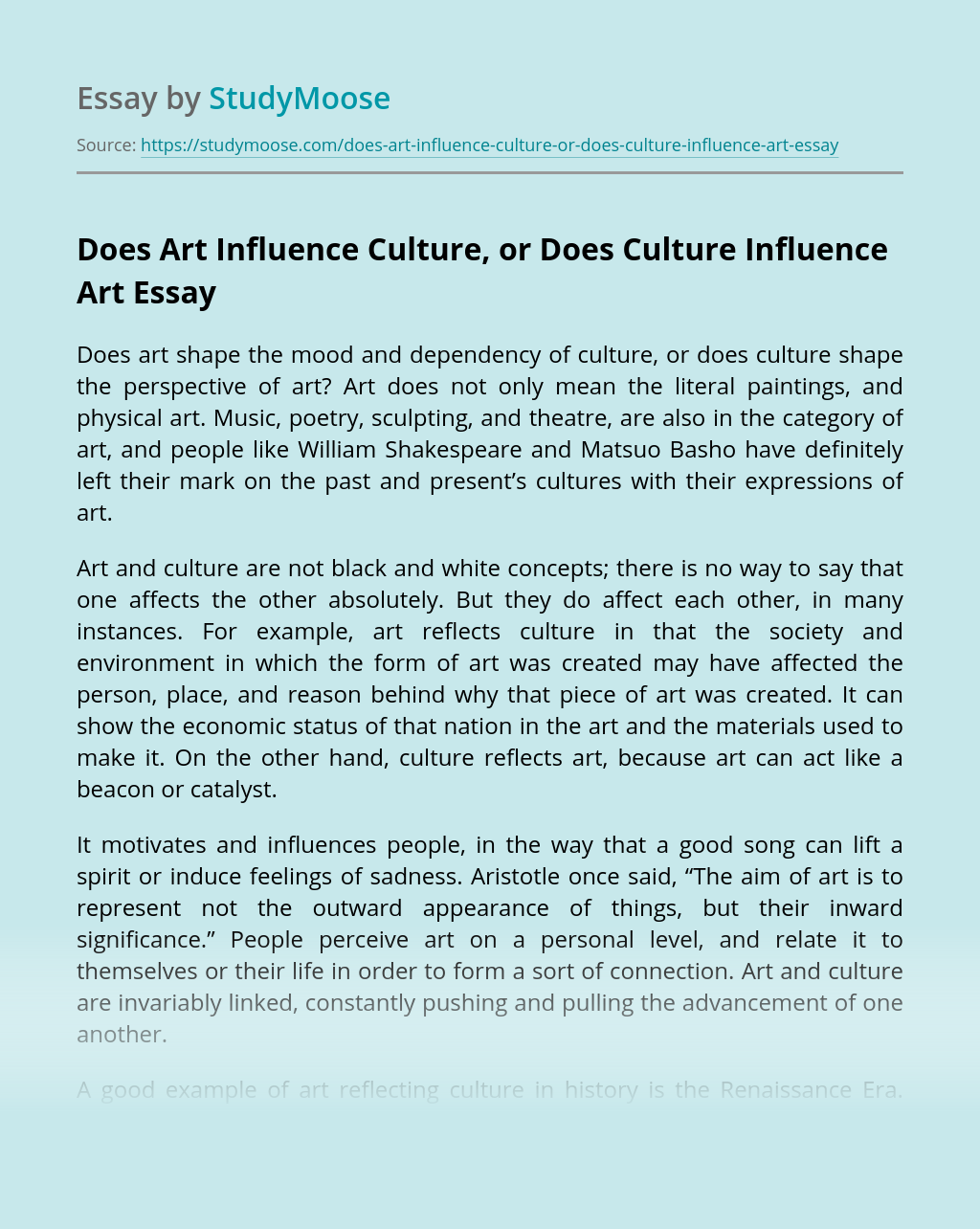Does Art Influence Culture, or Does Culture Influence Art