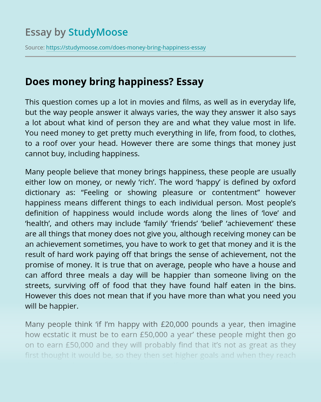Does money bring happiness?