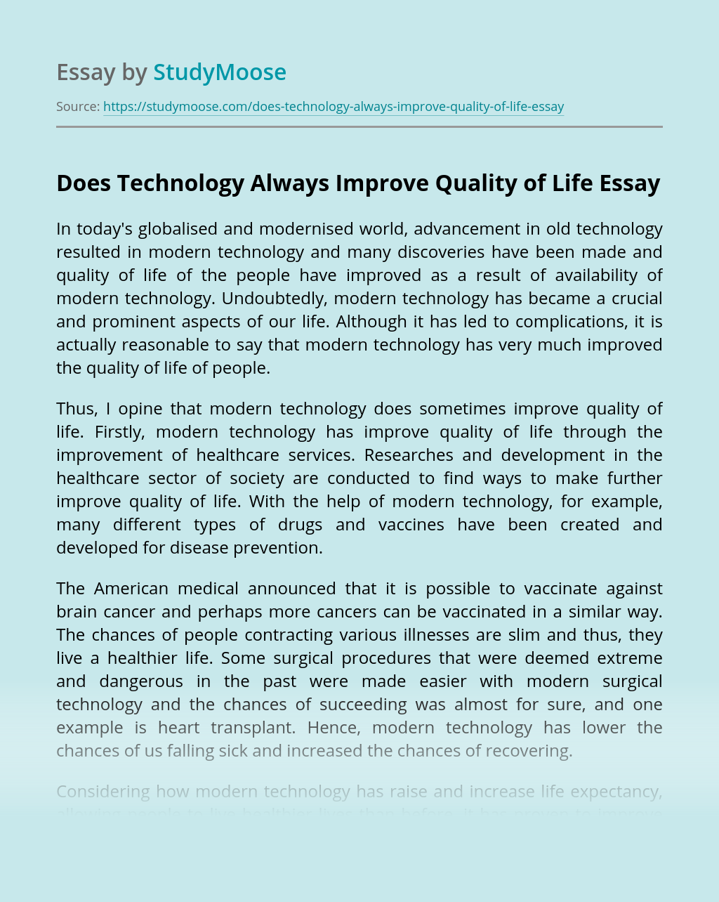 Does Technology Always Improve Quality of Life