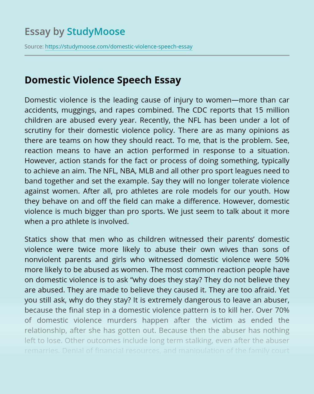 Domestic Violence Speech