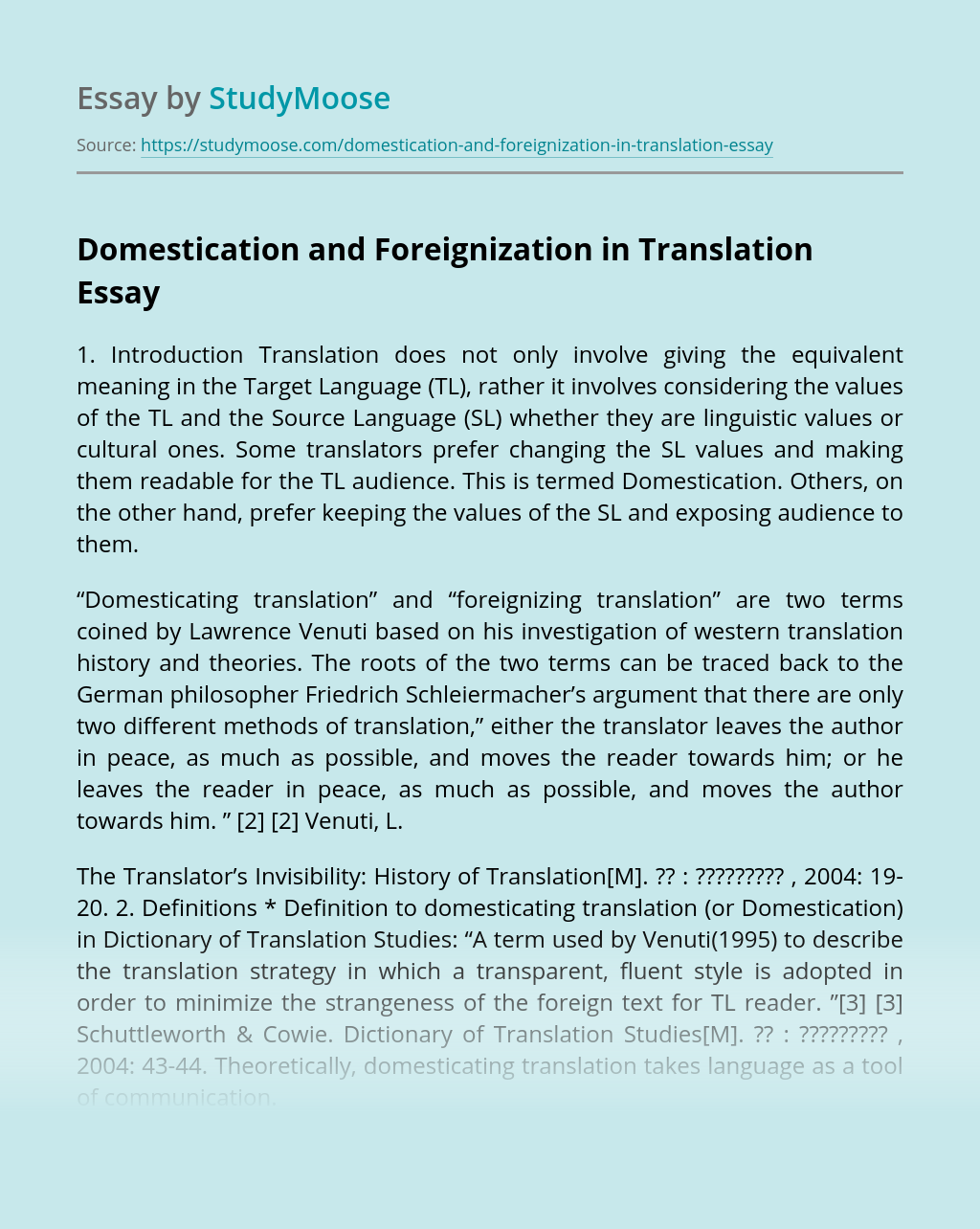 Domestication and Foreignization in Translation
