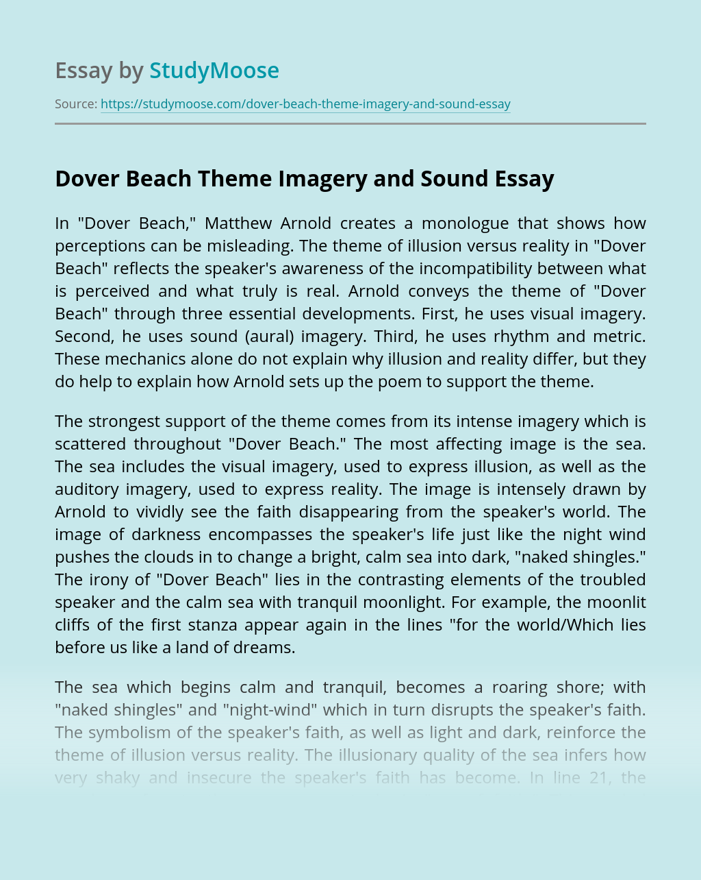 Dover Beach Theme Imagery and Sound