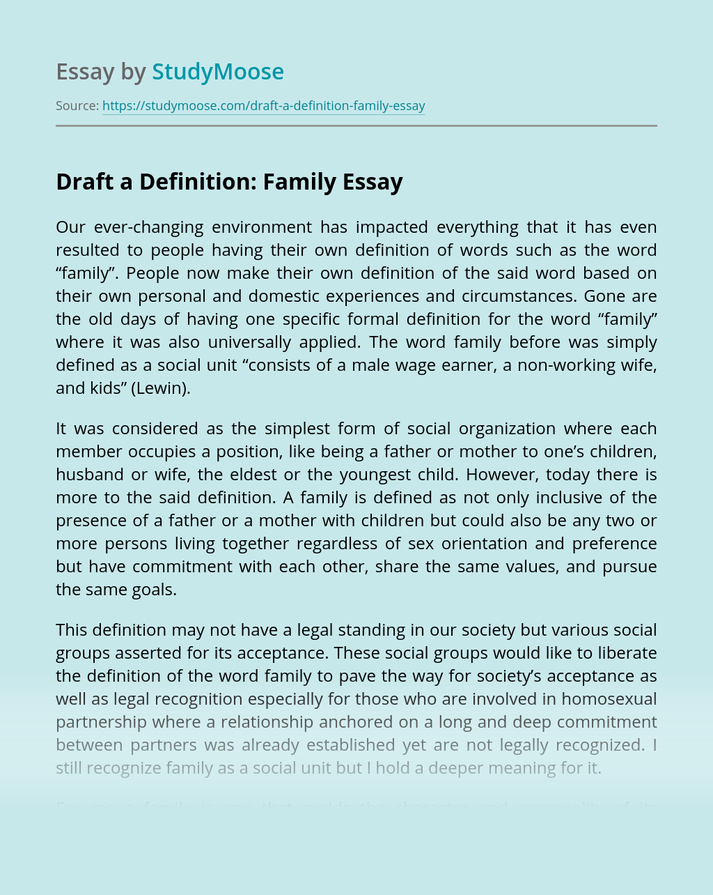Draft a Definition: Family
