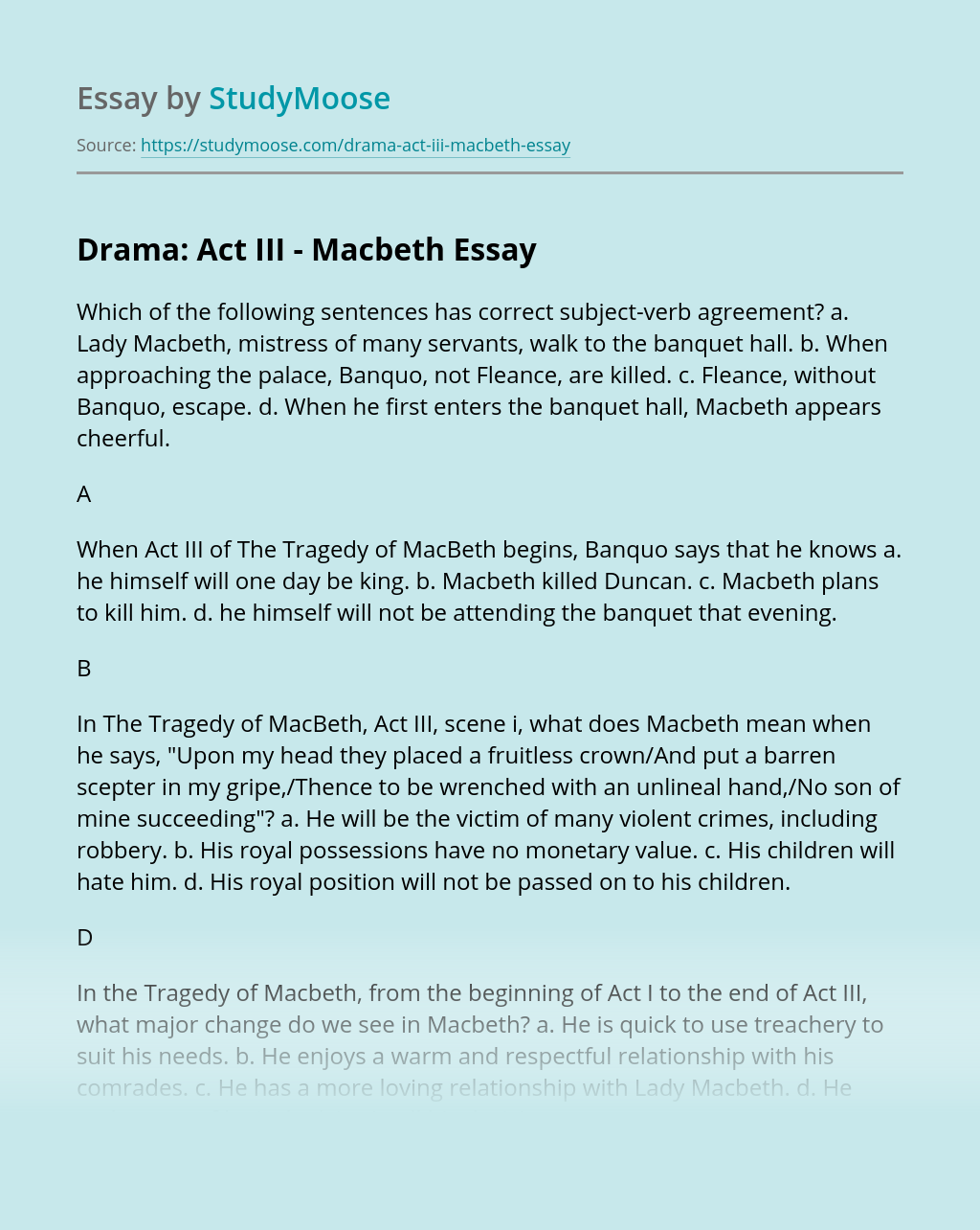 Drama: Act III - Macbeth