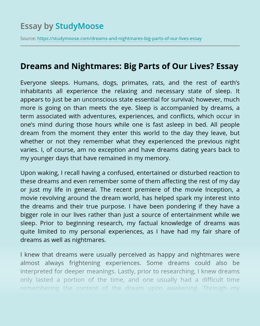Dreams and Nightmares: Big Parts of Our Lives?