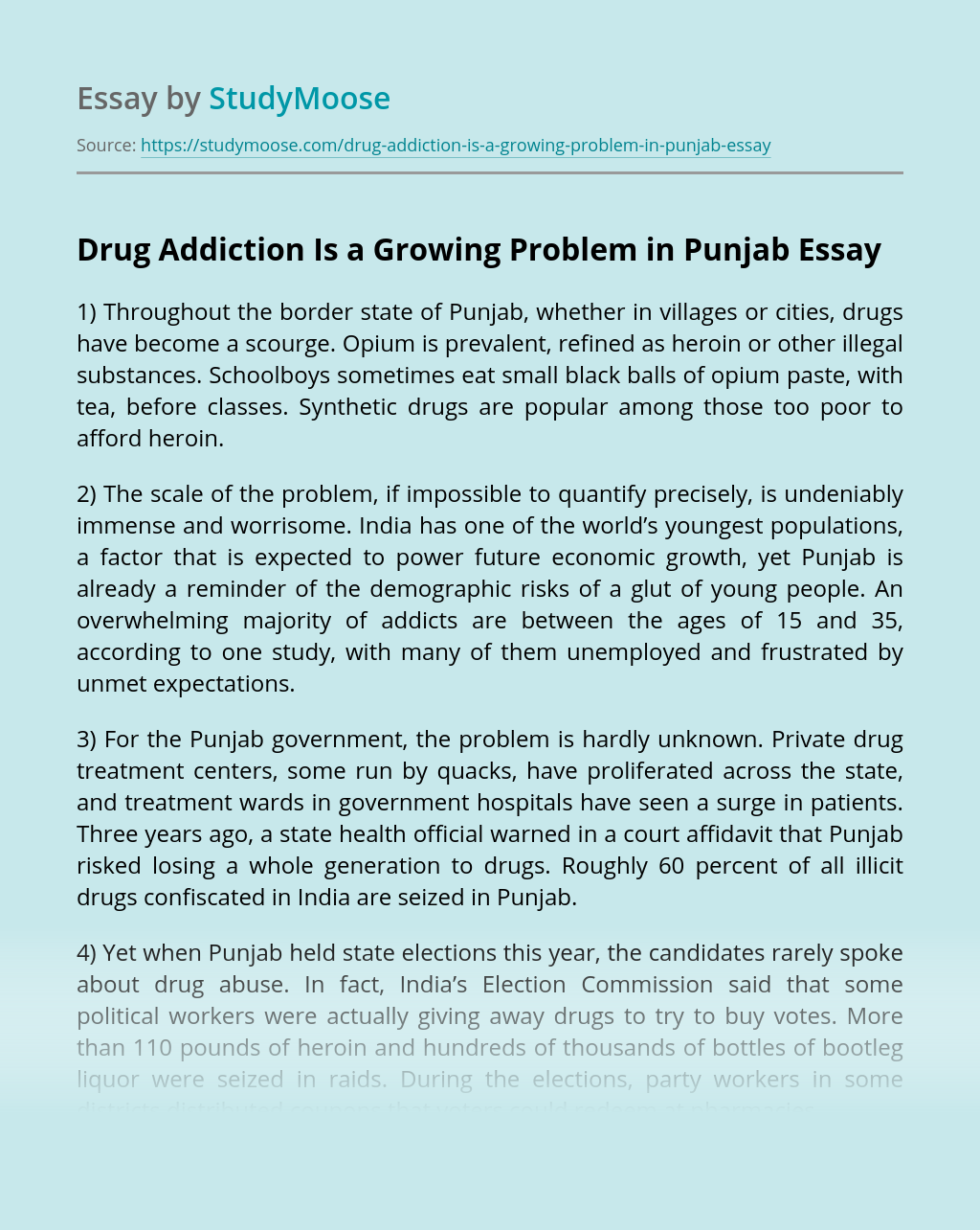 Drug Addiction Is a Growing Problem in Punjab