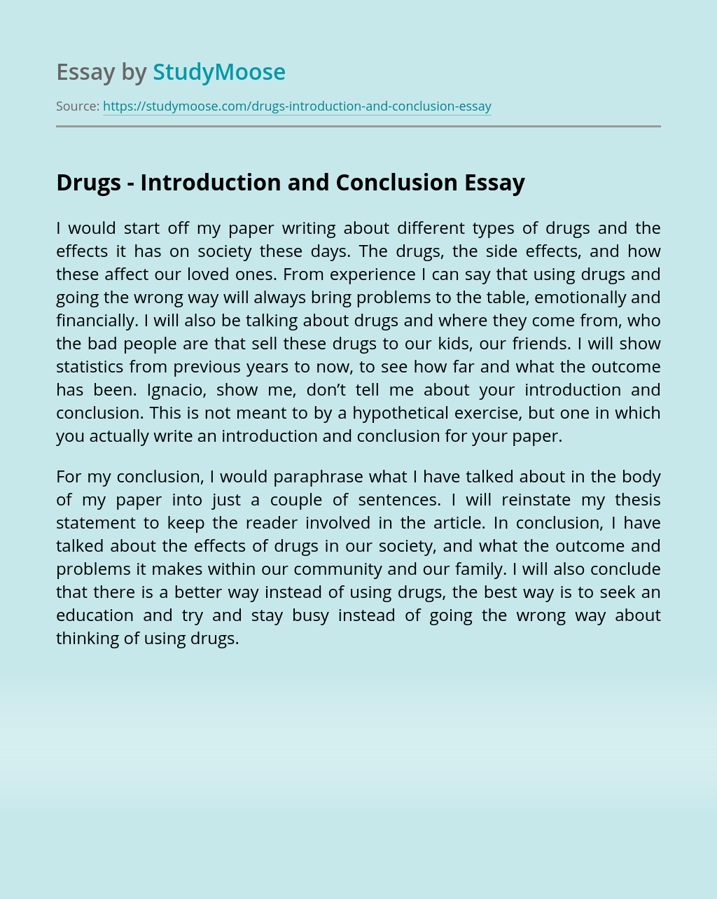 Drugs – Introduction and Conclusion