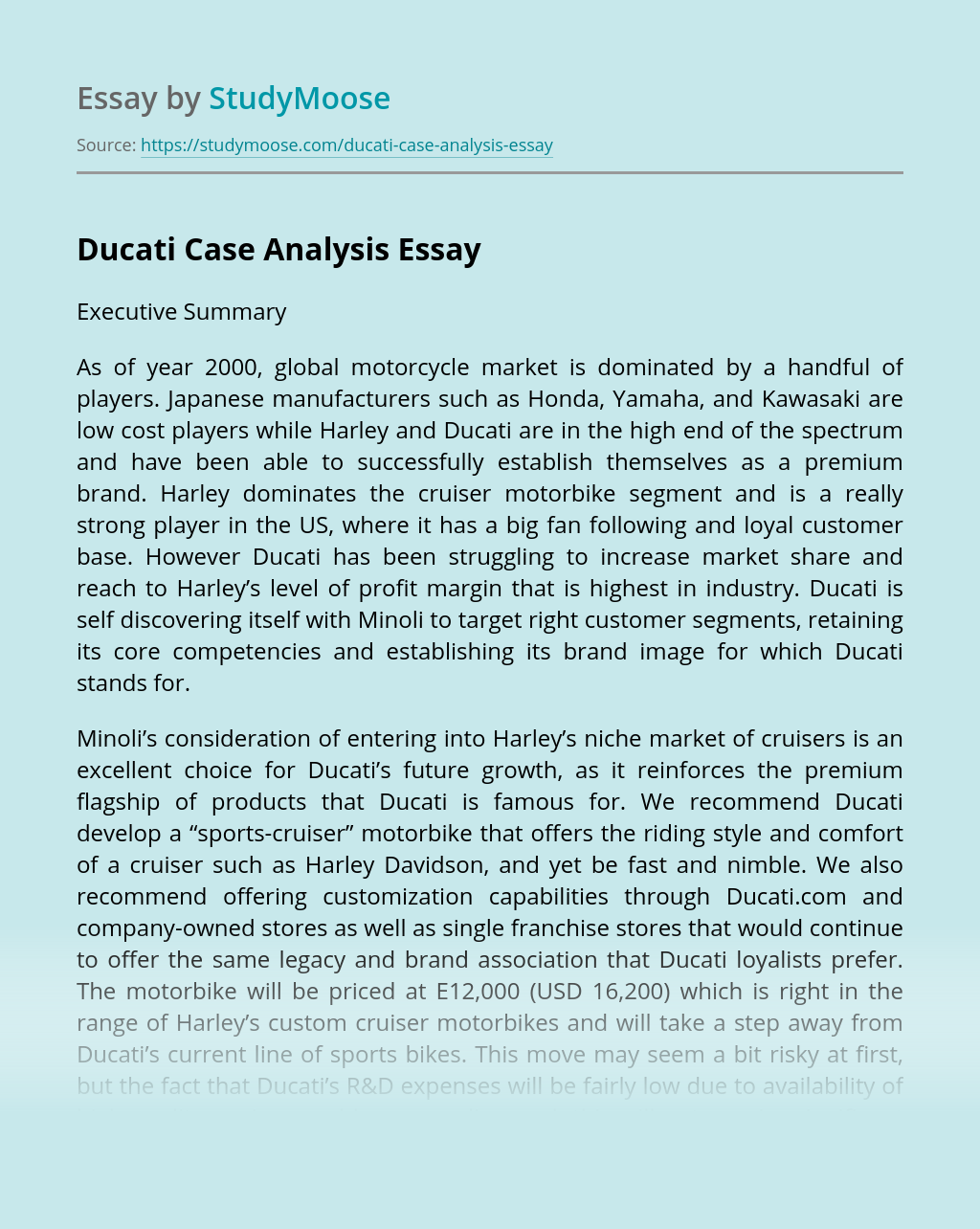 Ducati Case Analysis