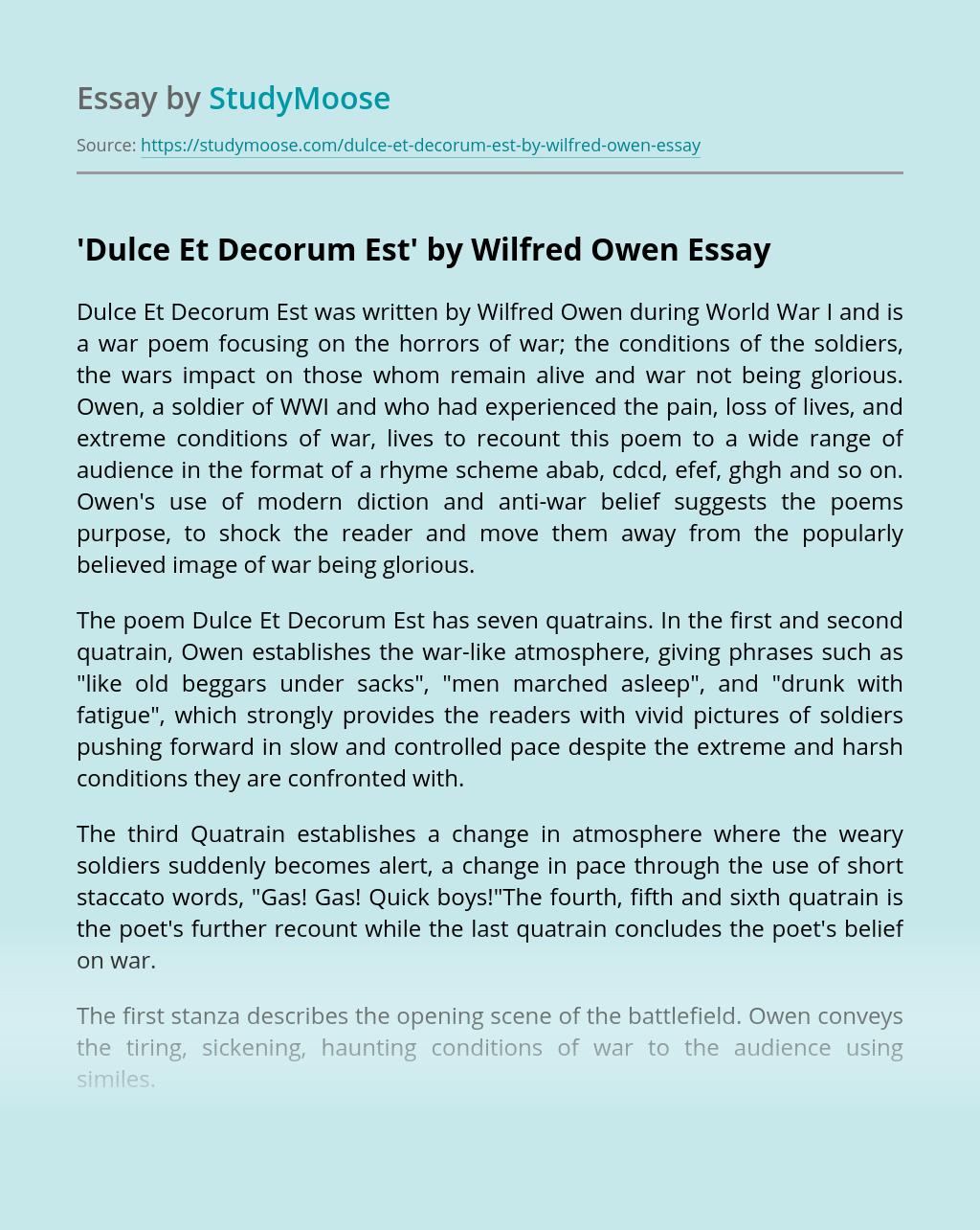 Dulce Et Decorum Est Essay Example