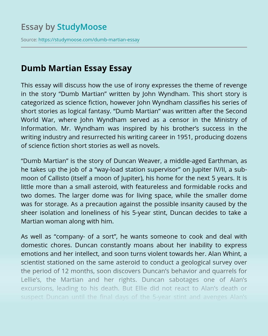 Dumb Martian Essay