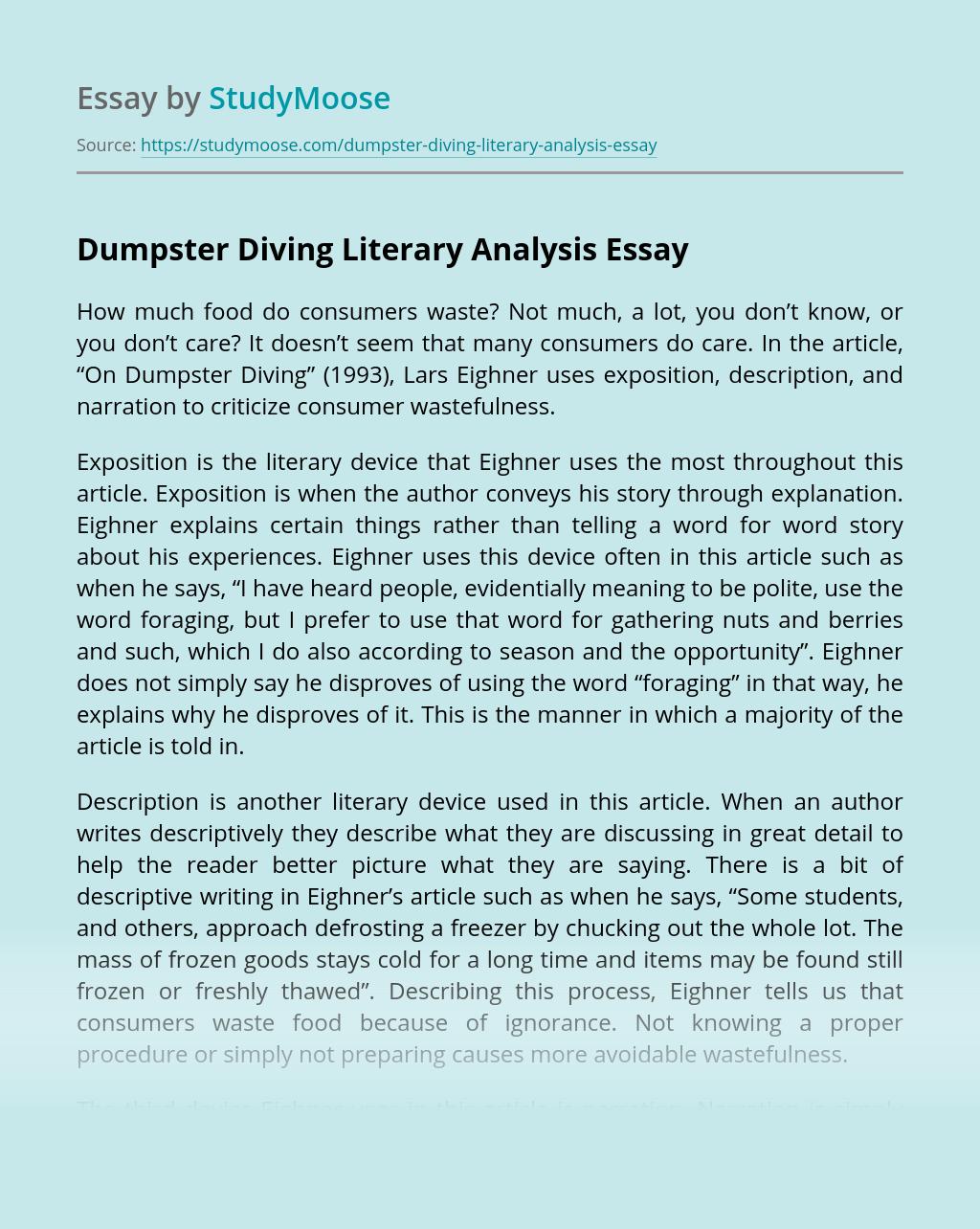 Dumpster Diving Literary Analysis