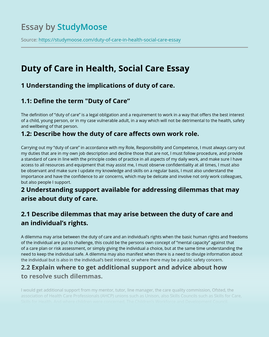 Duty of Care in Health, Social Care