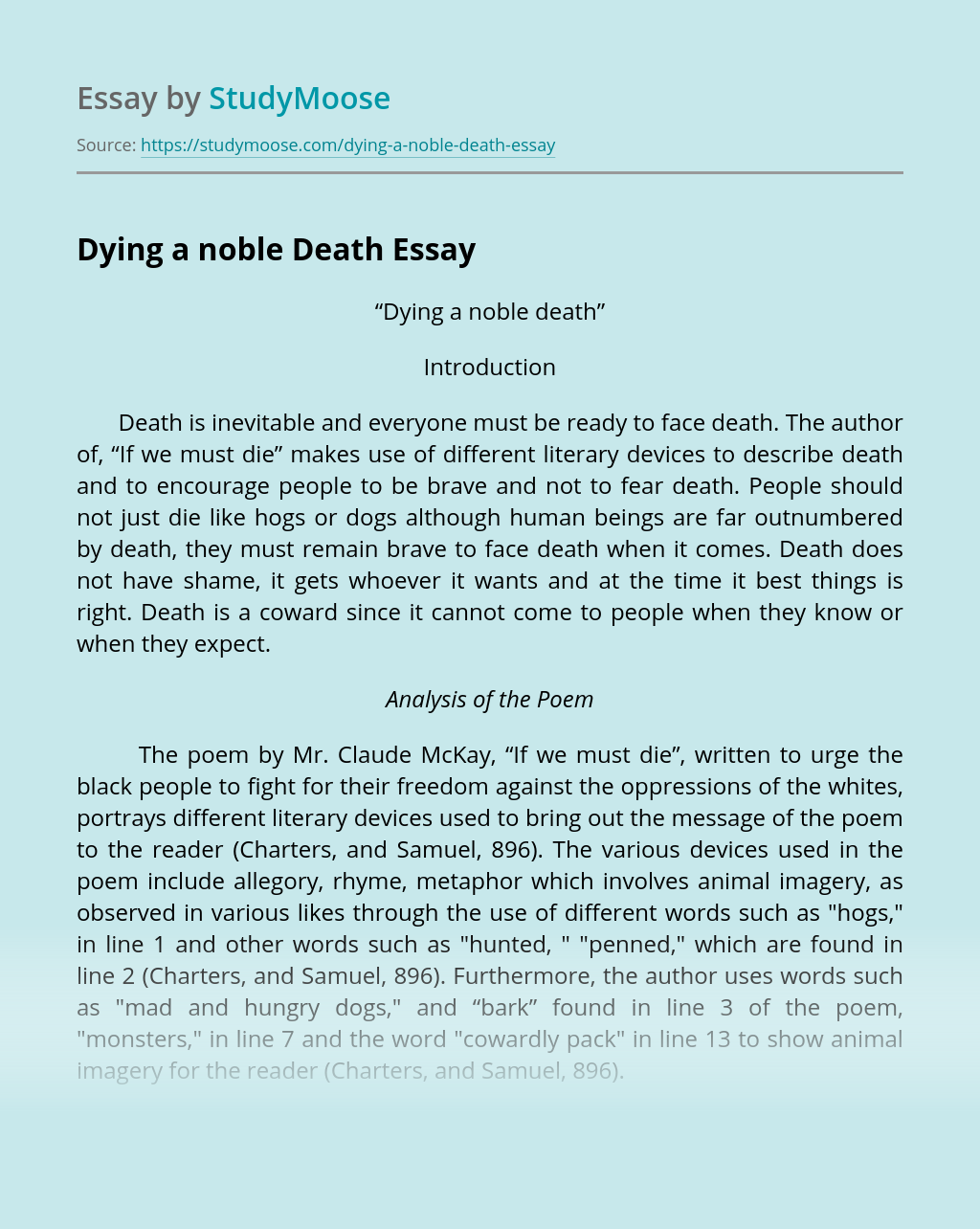 Dying a noble Death