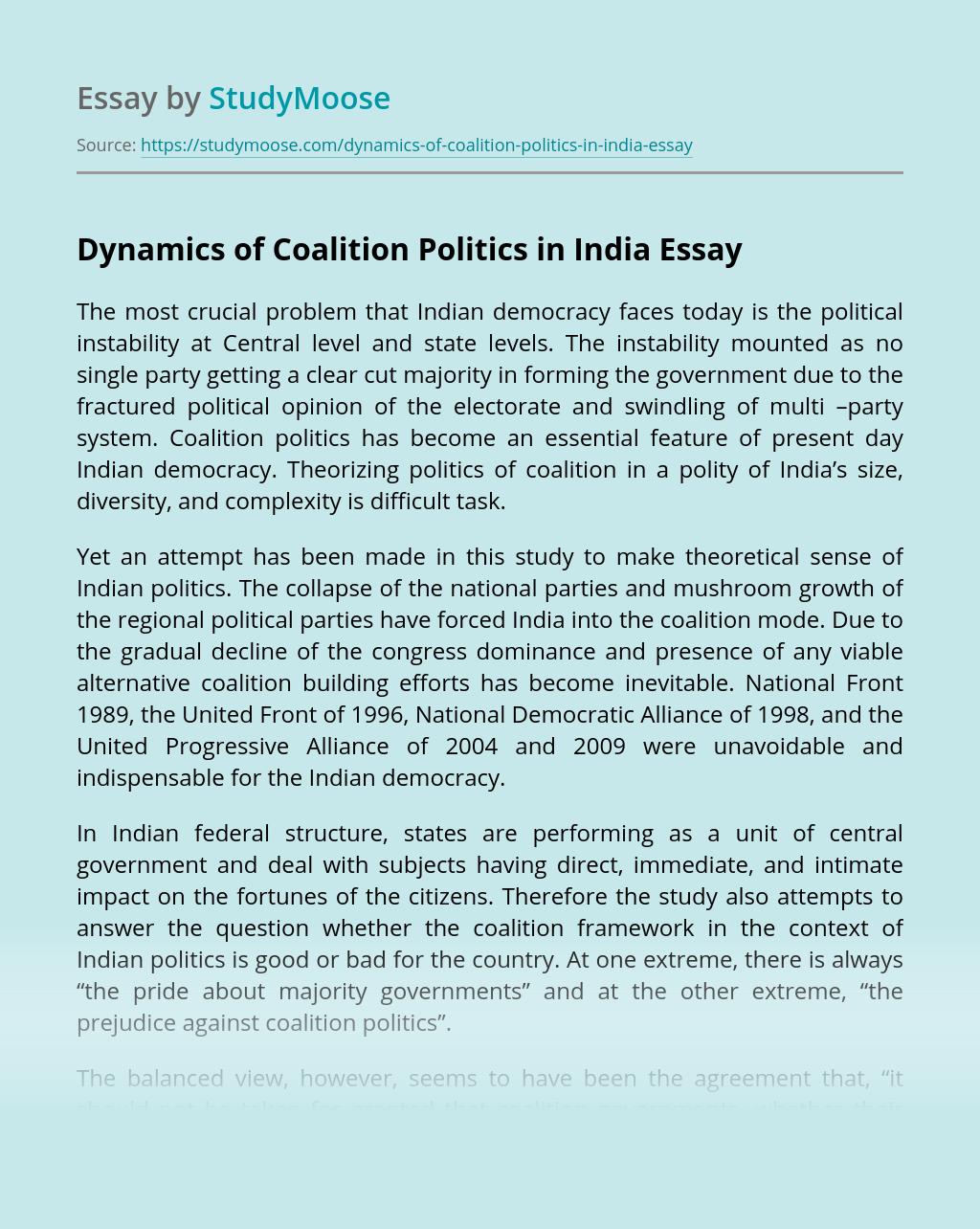 Dynamics of Coalition Politics in India