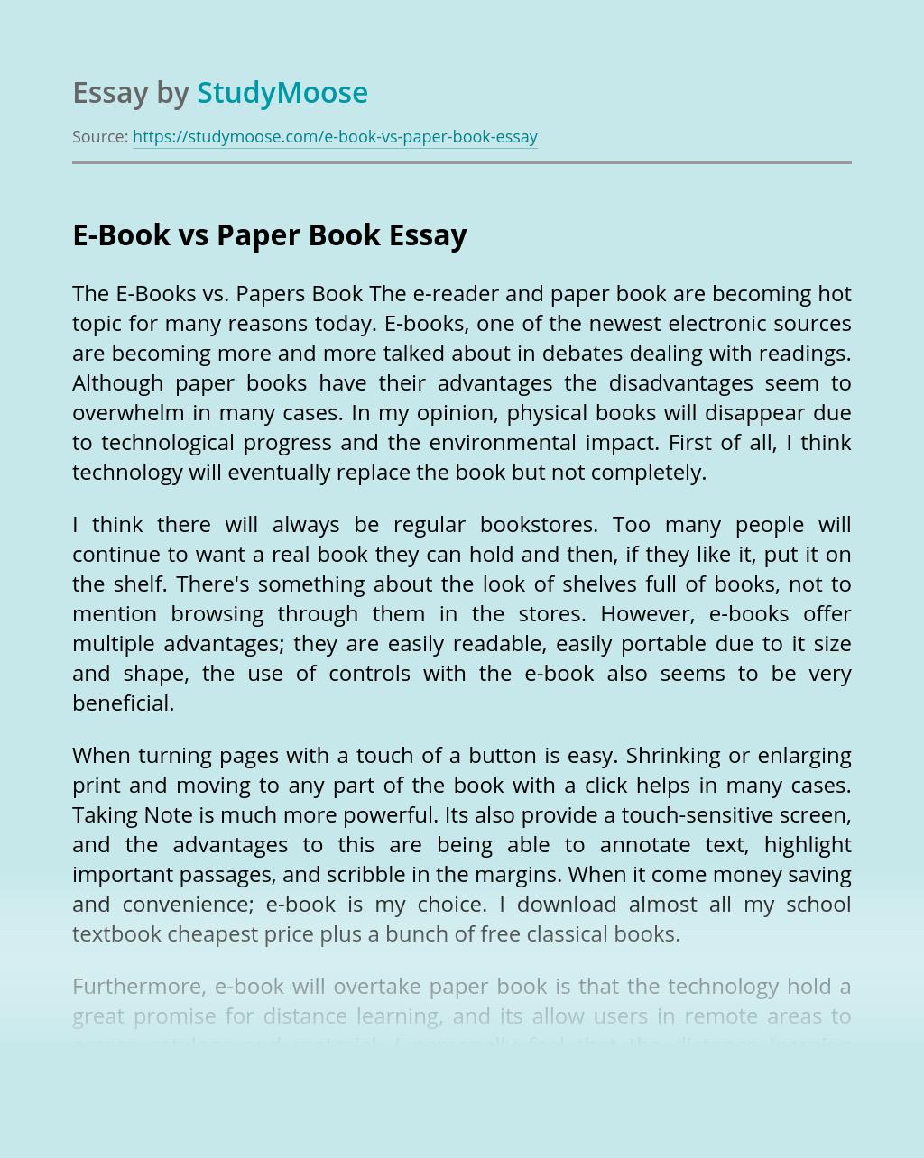 E-Book vs Paper Book