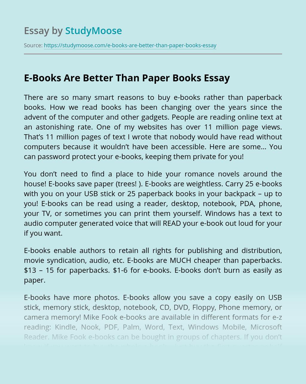 E-Books Are Better Than Paper Books