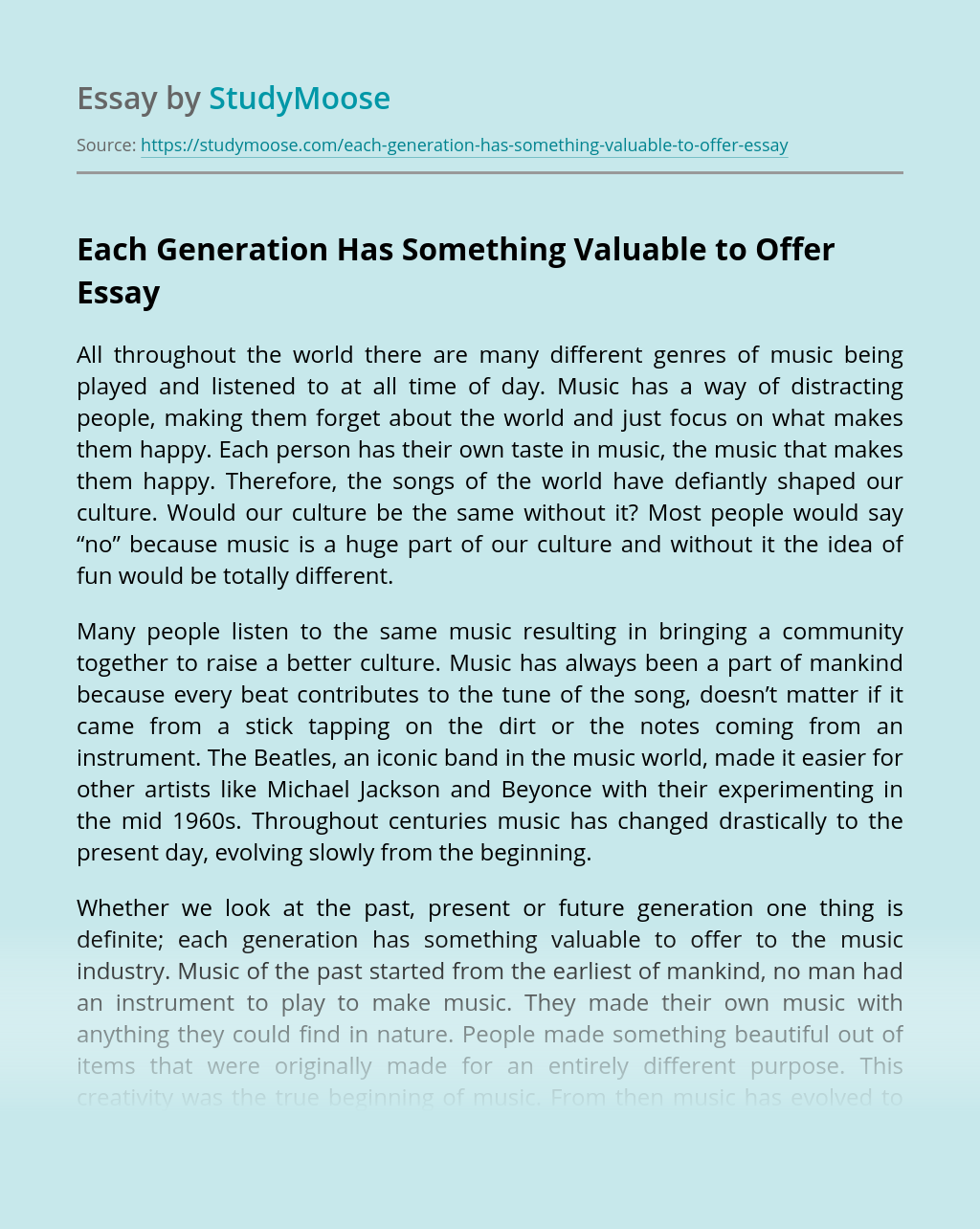 Each Generation Has Something Valuable to Offer
