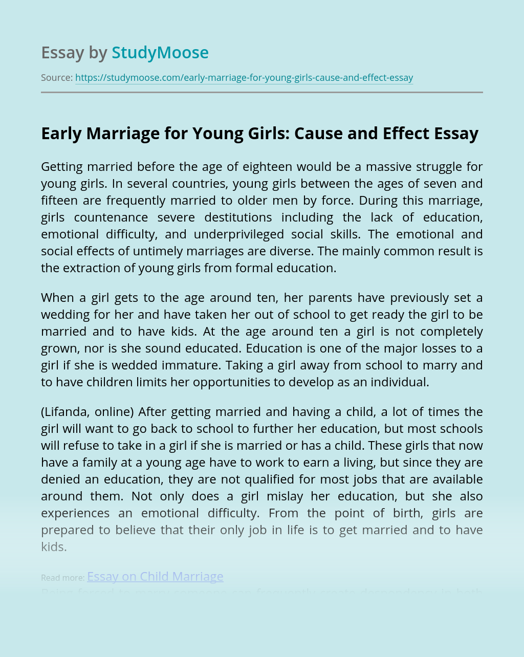 Early Marriage for Young Girls: Cause and Effect