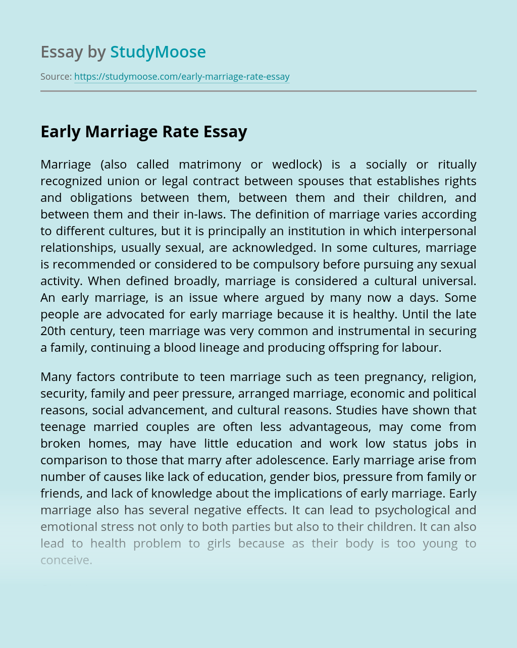 Early Marriage Rate