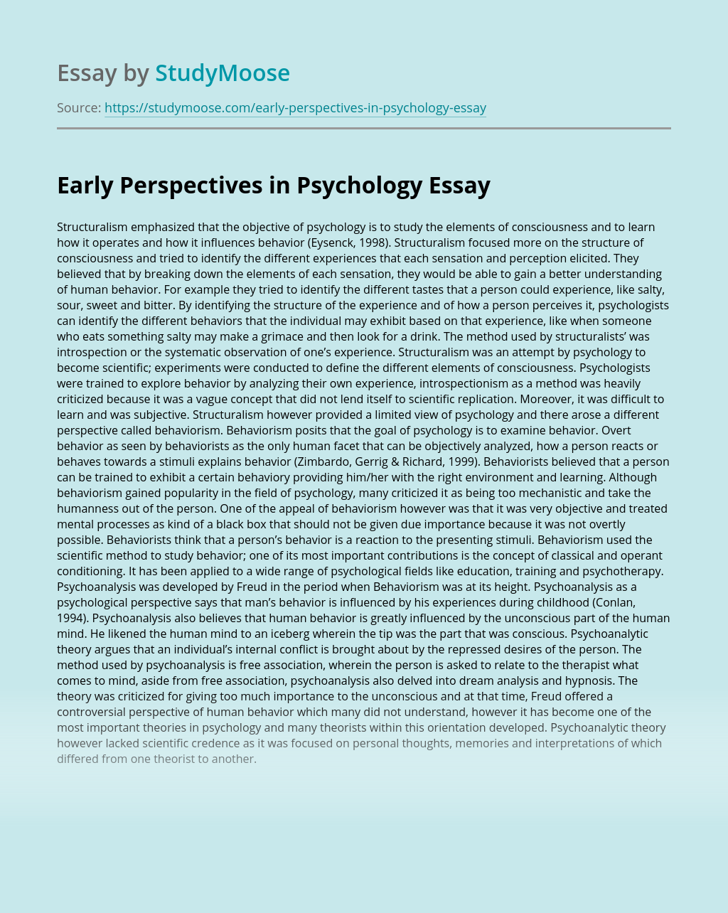 Early Perspectives in Psychology