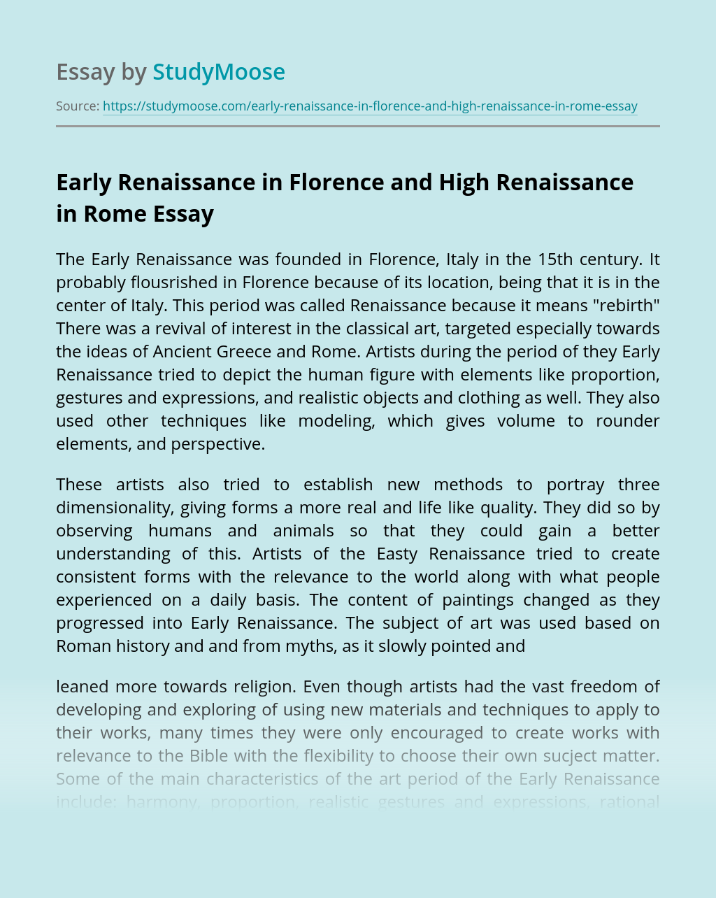 Early Renaissance in Florence and High Renaissance in Rome