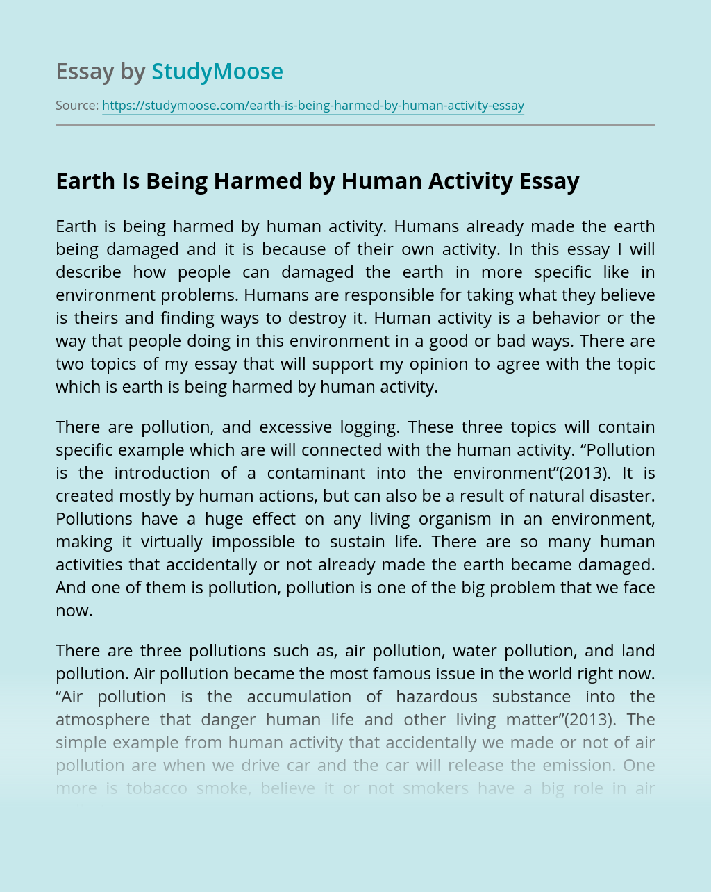 Earth Is Being Harmed by Human Activity