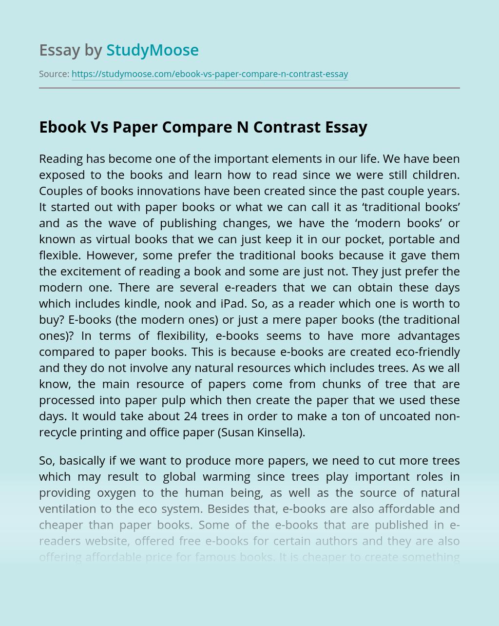 Ebook Vs Paper Compare N Contrast