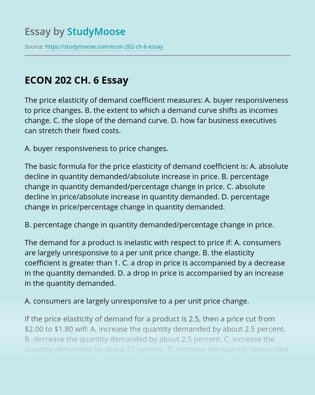 ECON 202 CH. 6