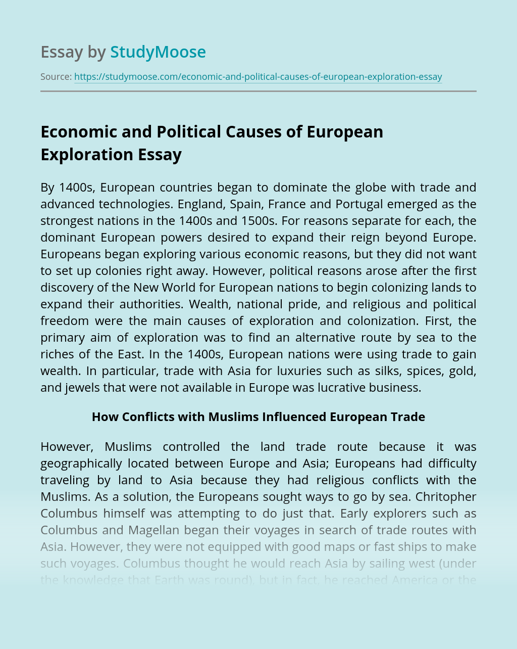 Economic and Political Causes of European Exploration