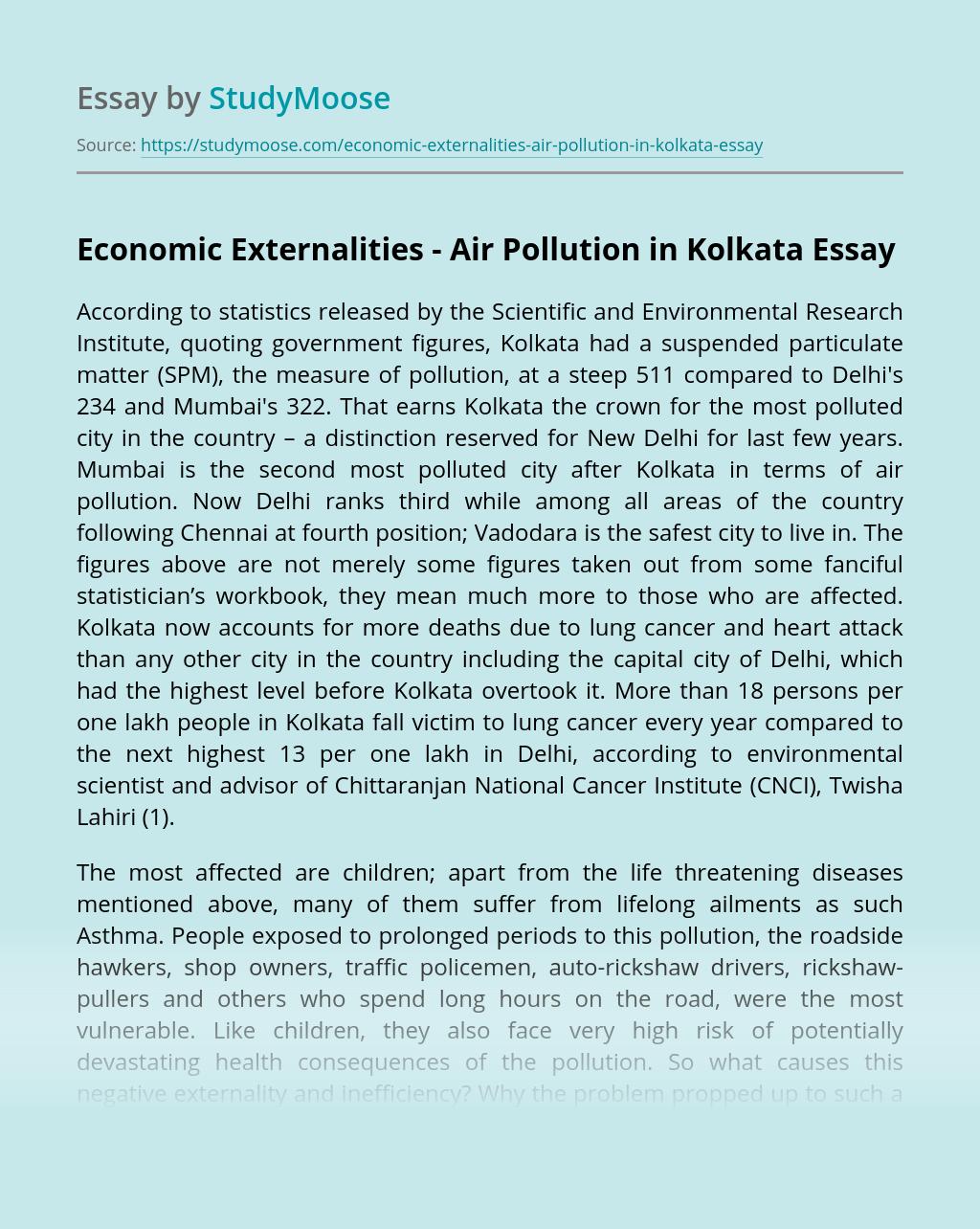 Economic Externalities - Air Pollution in Kolkata