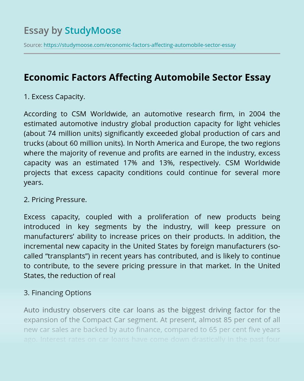 Economic Factors Affecting Automobile Sector