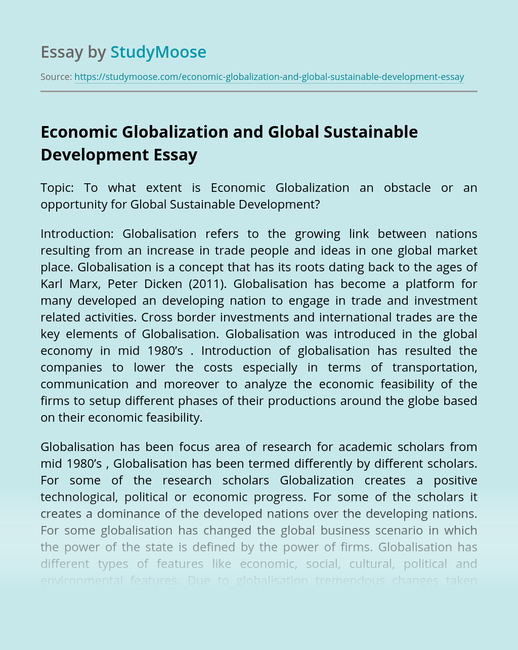 Economic Globalization and Global Sustainable Development