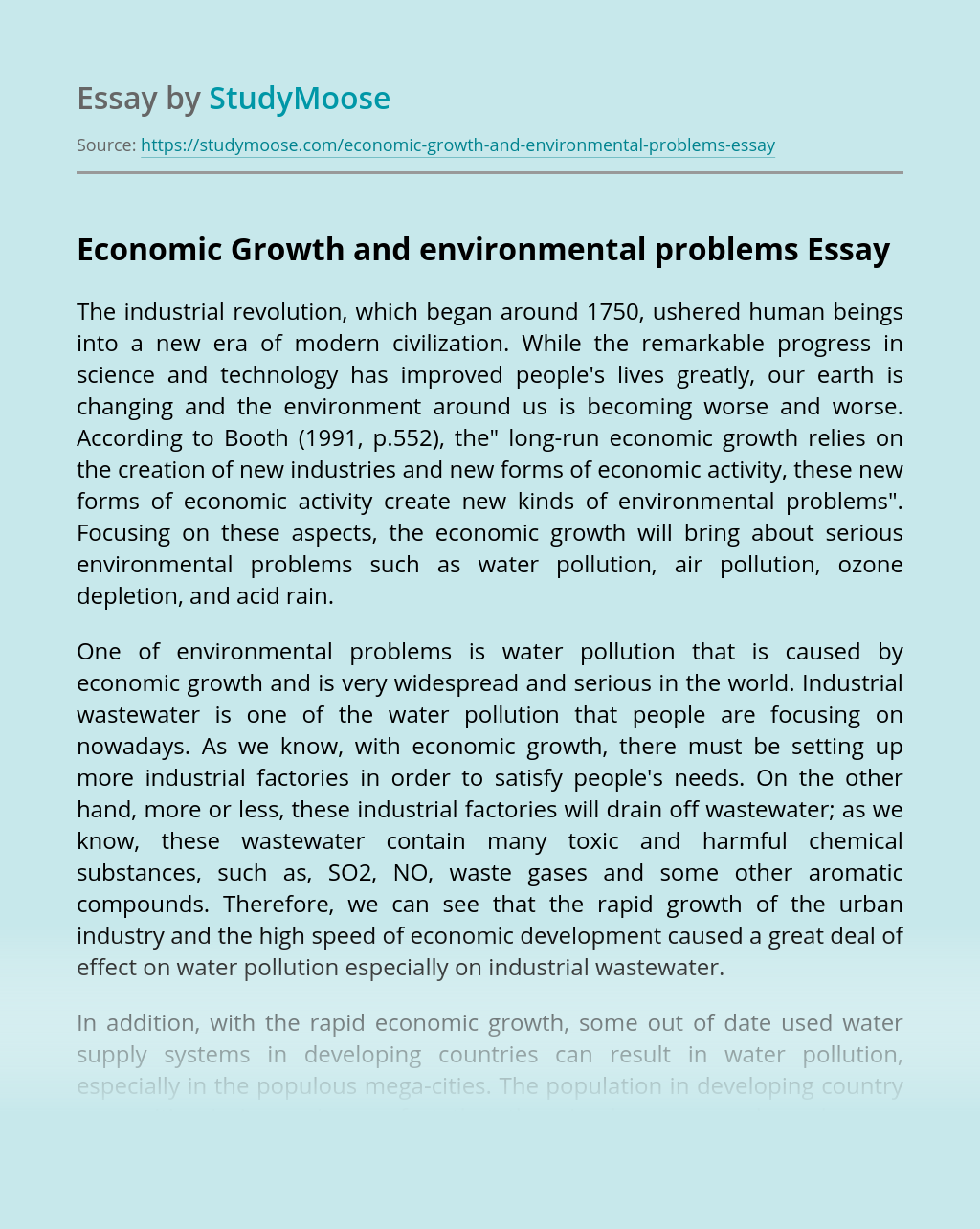 Economic Growth and environmental problems