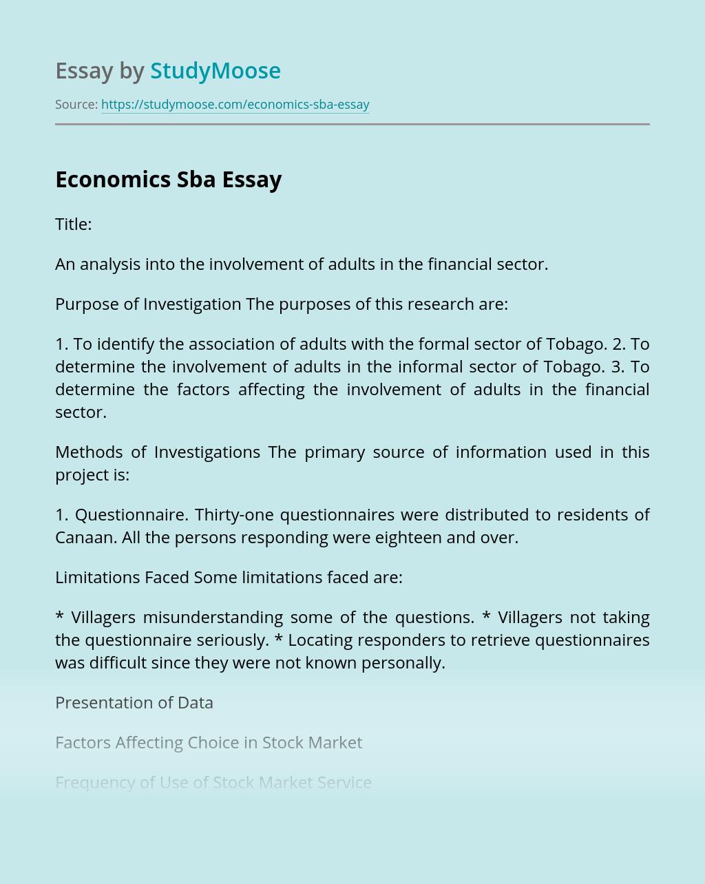 Economics Sba