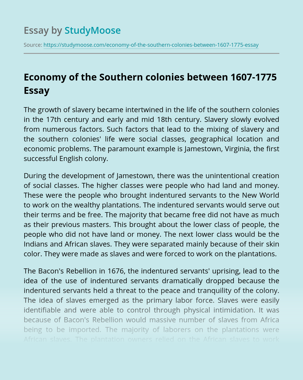 Economy of the Southern colonies between 1607-1775