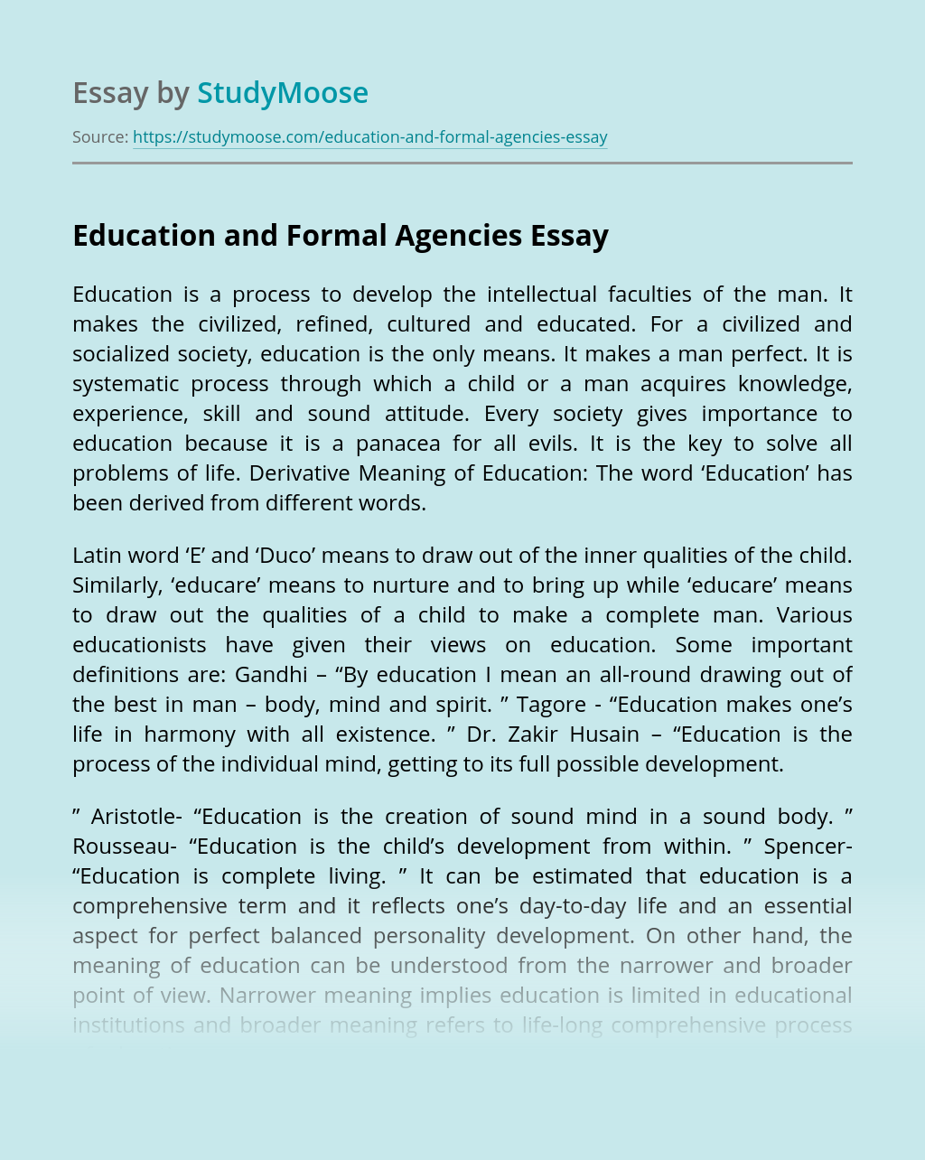 Education and Formal Agencies