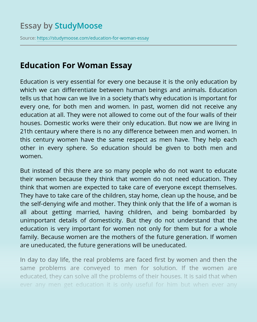 Education For Woman