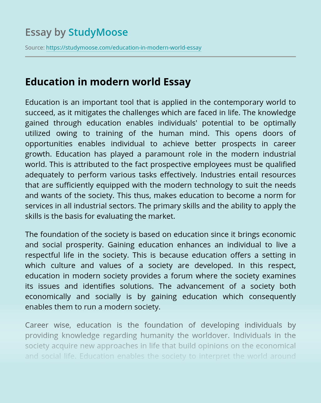 Education in modern world
