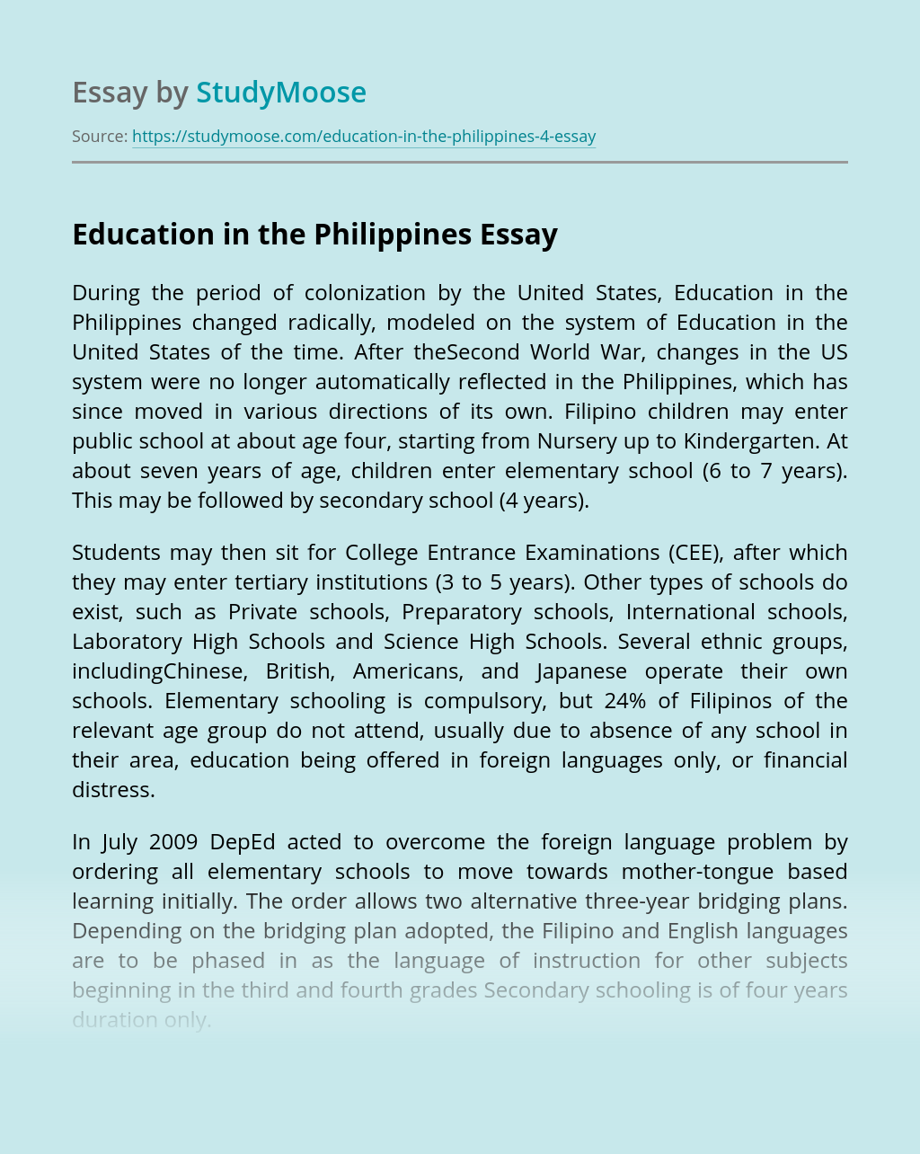 Education in the Philippines
