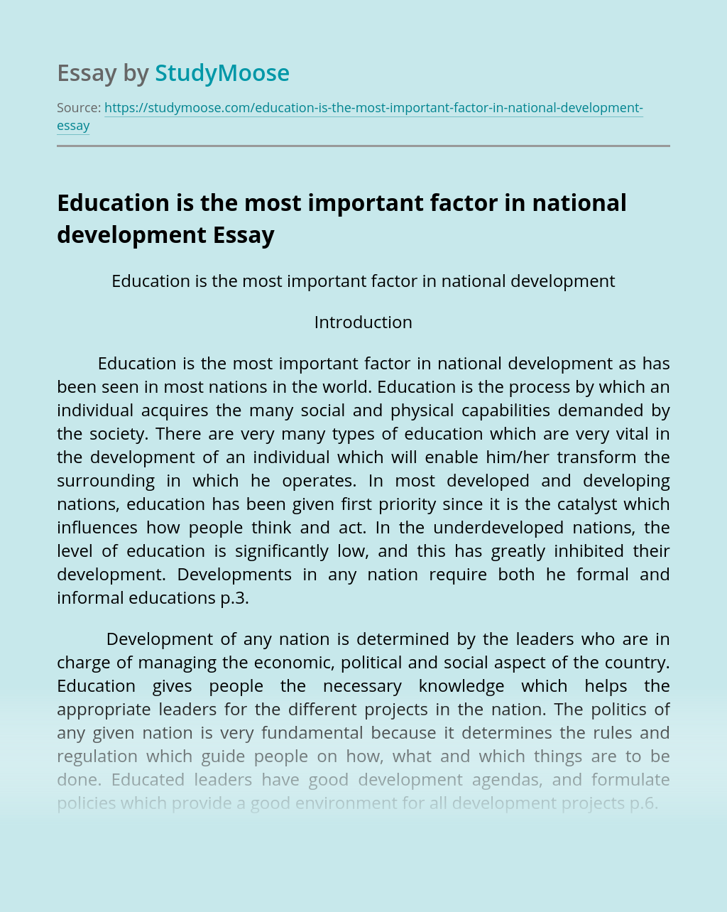Education is the most important factor in national development