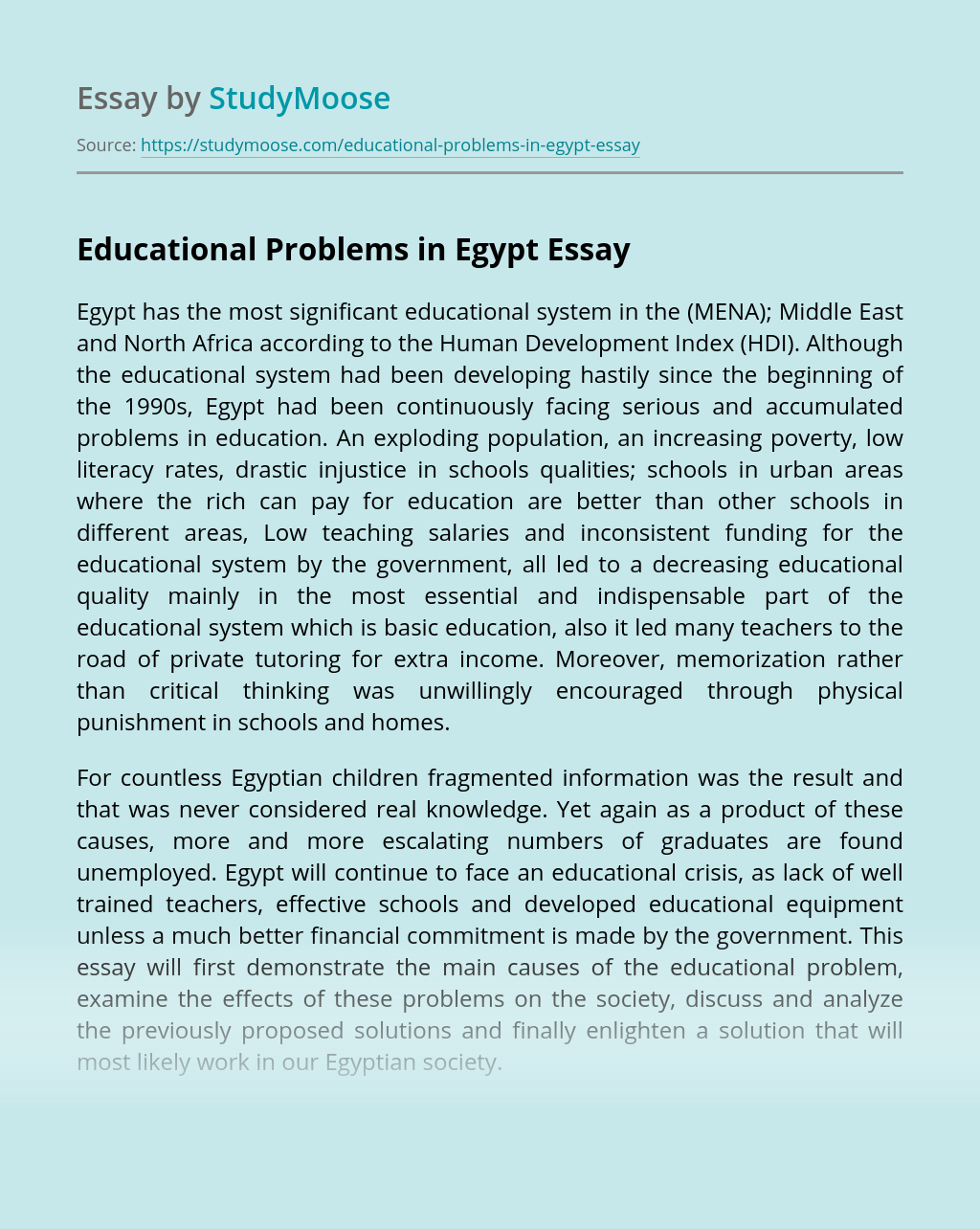Educational Problems in Egypt